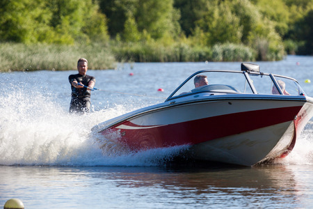 slalom: Water skiing at Wiremill Lake East Grinstead Editorial