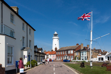 southwold: Union jack flag flying near the lighthouse in Southwold Suffolk