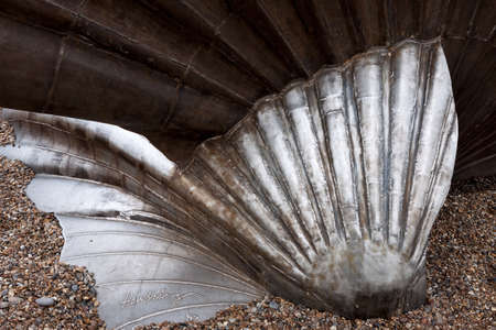 Maggi Hambling The Scallop 2003 sculpture on the beach at Aldeburgh photo