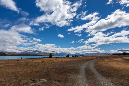 tekapo: Track running alongside Lake Tekapo