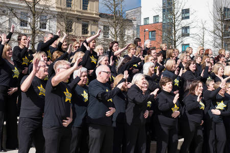 CARDIFF UK March 2014 - The Rock Choir supporting Sport Relief day and entertaining the crowds