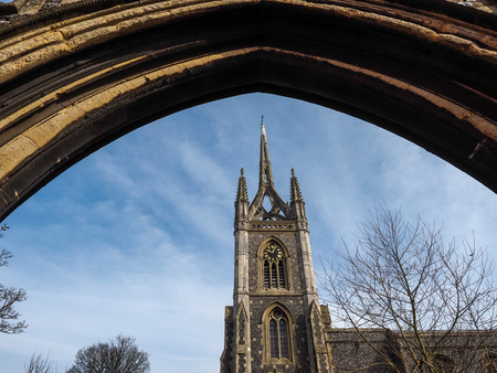 crown spire: FAVERSHAM, KENTUK - MARCH 29 : View of St Mary of Charity Church in Faversham Kent on March 29, 2014