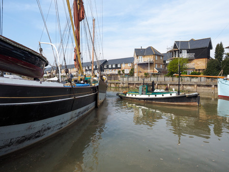 towed: FAVERSHAM, KENTUK - MARCH 29 : Close up view of the Cambria restored Thames sailing barge in Faversham Kent on March 29, 2014. Unidentified people