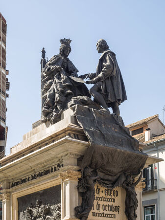 isabel: Monument to Ferdinand and Isabella, Plaza Isabel la Catolica, Granada, Granada Province, Andalucia, Spain