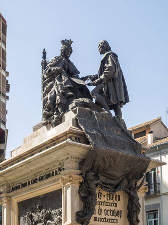 queen isabella: Monument to Ferdinand and Isabella, Plaza Isabel la Catolica, Granada, Granada Province, Andalucia, Spain