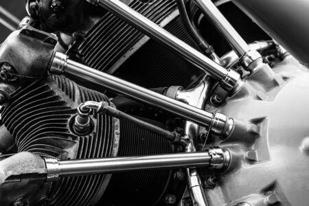 GOODWOOD, WEST SUSSEXUK - SEPTEMBER 14 : Close-up of a vintage aeroplane engine at Goodwood on September 14, 2012