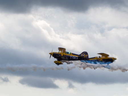 aerobatic: The Trig Aerobatic Team flying over Biggin Hill airport Editorial