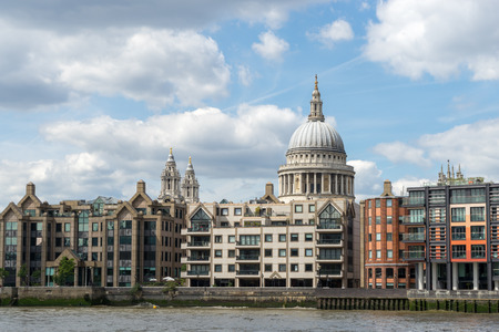 saint pauls cathedral: View towards St Pauls Cathedral from the River Thames Stock Photo