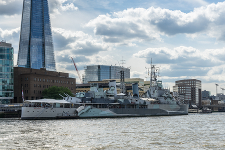 shard: View of the Shard and HMS Belfast in London