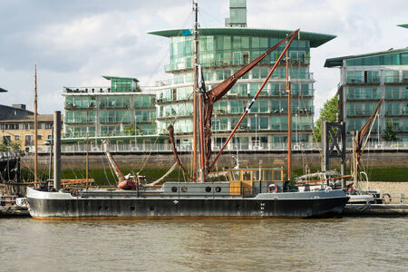 wind powered building: Thames barge moored on the River Thames
