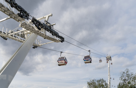 british touring car: View of the London cable car over the River Thames