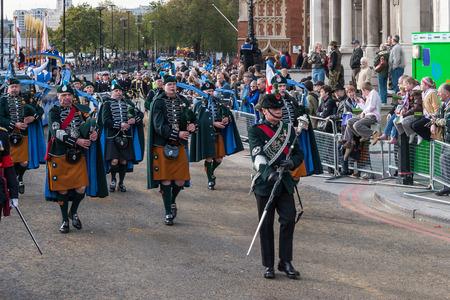 berets: Irish pipers parading at the Lord Mayor