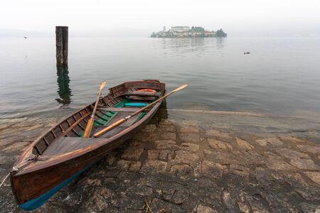 orta: Rowing boat at Lake Orta in Italy
