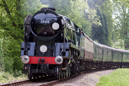 Rebuilt Bulleid Light Pacific No. 34059 steam locomotive near Kingscote Station