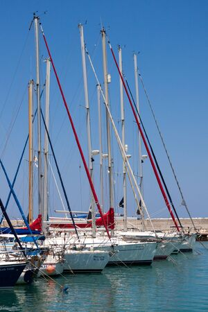moorings: Assortment of boats in the marina at Latchi Cyprus Editorial