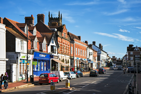 west sussex: View of High Street shops in East Grinstead West Sussex
