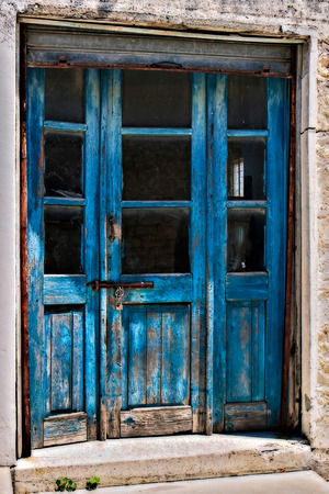 Close-up of some old doors in Omodhos Cyprus photo