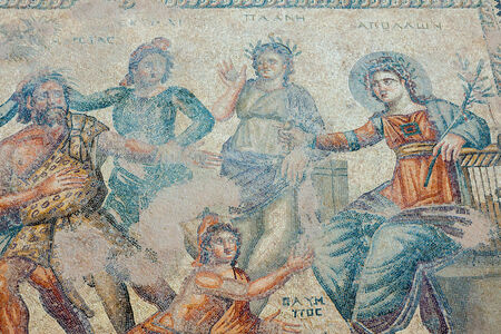 3rd ancient: Ancient mosaic from the House of Aion in Paphos Cyprus