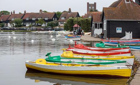 Group of rowing boats at Thorpeness boating lake