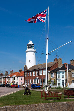 southwold: Union jack flag flying near the lighthouse in Southwold Editorial