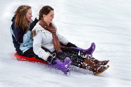 to steer a sledge: Winter scene in East Grinstead Editorial