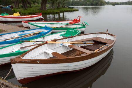 gb: Group of rowing boats at Thorpeness boating lake