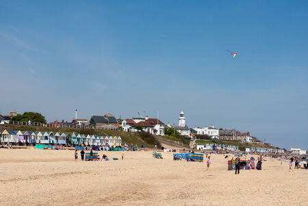 southwold: People enjoying the beach in Southwold