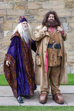 Hagrid and Dumbledore performing at Alnwick Castle