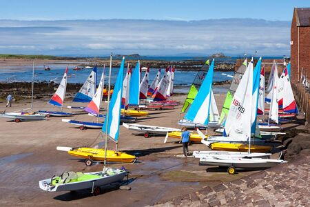 lothian: Brightly coloured yachts at North Berwick harbour Editorial