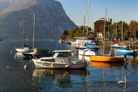 Boats at Lake Como Lecco Italy