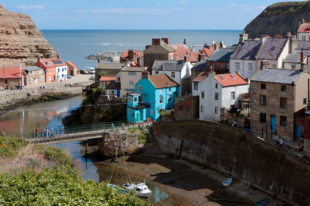 beck: High Angle view of Staithes Stock Photo