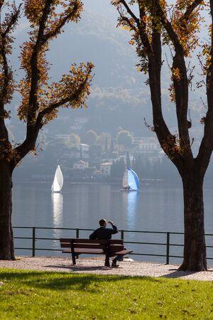 water's edge: Lake Como at Lecco Editorial