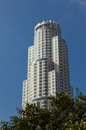 highrises: LOS ANGELES, CALIFORNIA USA - JULY 28   Skyscraper in the Financial district of Los Angeles California on July 28, 2011