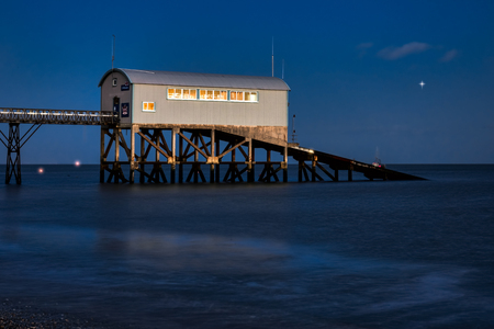 lifeboat station: Selsey Bill Lifeboat Station at dusk