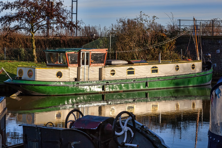 ouse: Narrowboat on the river Great Ouse at Ely Stock Photo