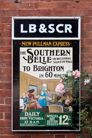 belle: Old railway poster advertising The Southern Belle train at Sheffield Park Station