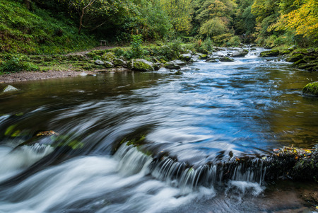lynmouth: Bridge over the East Lyn River near Lynmouth in Devon on