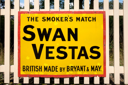 vestas: Swan Vestas sign at Sheffield Park Station