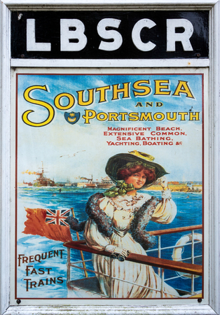 southsea: Old railway poster advertising Southsea and Portsmouth at Sheffield Park Station