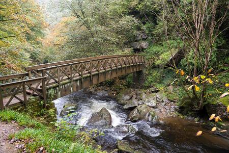 lynmouth: Bridge over the East Lyn River near Lynmouth in Devon