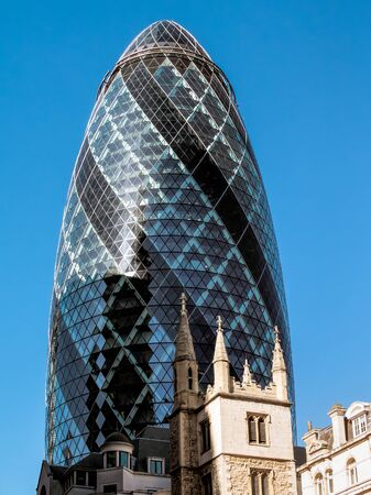 30 st mary axe: Futuristic building at 30 St Mary Axe in London