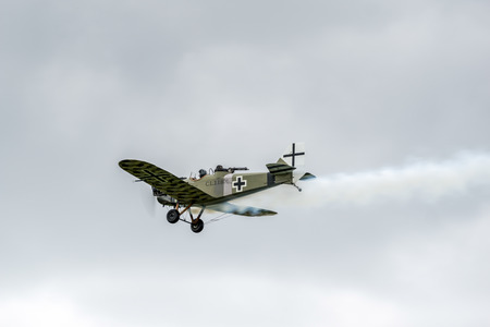 fixed wing aircraft: Junkers CL1 flying over Shoreham airfield