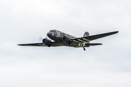 aileron: Douglas C-47A Skytrain Drag em oot N473DC flying over Shoreham Airfield