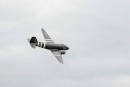 douglas: Douglas C-47A Skytrain N147DC flying over Shoreham Airfield