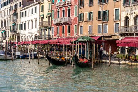 gondoliers: Gondolas moored in Venice