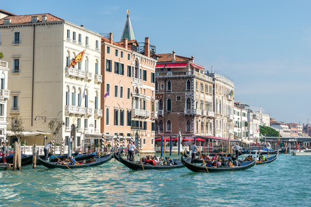 gondoliers: Gondoliers ferrying people in Venice Editorial