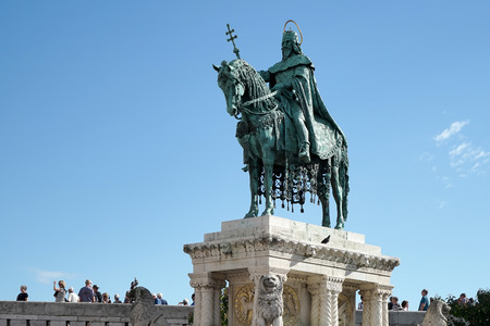 bastion: St Stephens statue at Fishermans Bastion Budapest