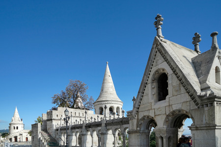 bastion: Fishermans Bastion Budapest Stock Photo