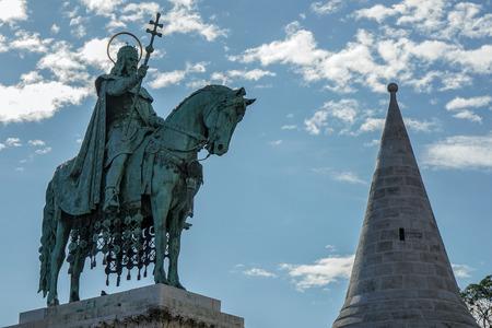 halaszbastya: St Stephens statue at Fishermans Bastion Budapest