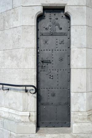 halaszbastya: Door in wall at Fishermans Bastion Budapest